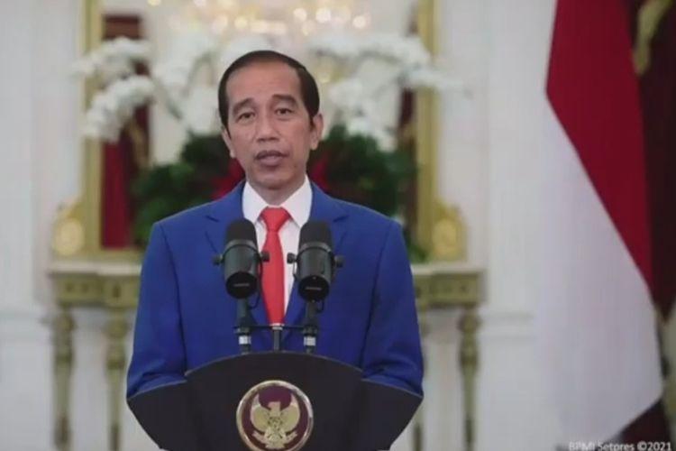 Presiden Joko Widodo saat hadir secara virtual dalam Dies Natalis ke-58 Universitas Brawijaya (UB), Selasa (5/1/2021).