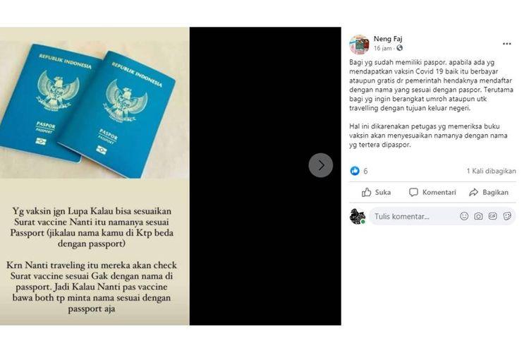 Tangkapan layar unggahan yang menyebut nama penerima vaksin di surat vaksinasi harus sama dengan nama yang tertuang di paspor.