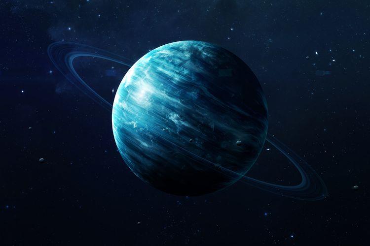 Ilustrasi planet Uranus. Astronom menemukan kemiripan 5 Bulan terbesar Uranus dengan planet kerdil, Pluto.