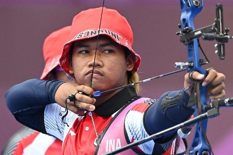 Pemanah Indonesia, Arif Dwi Pangestu, ketika tampil di Olimpiade Tokyo 2020.
