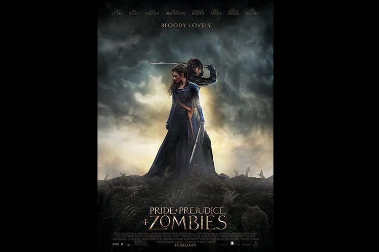 Lily James dan Sam Riley dalam film komedi aksi Pride and Prejudice and Zombies (2016).