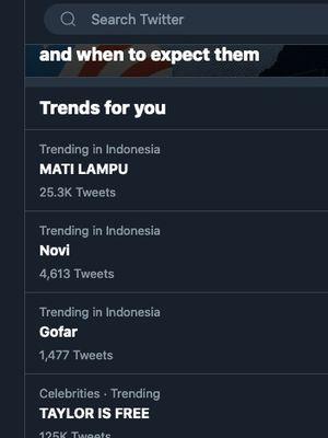Mati Lampu trending Twitter no 1 di Indonesia, Minggu (1/11/2020).