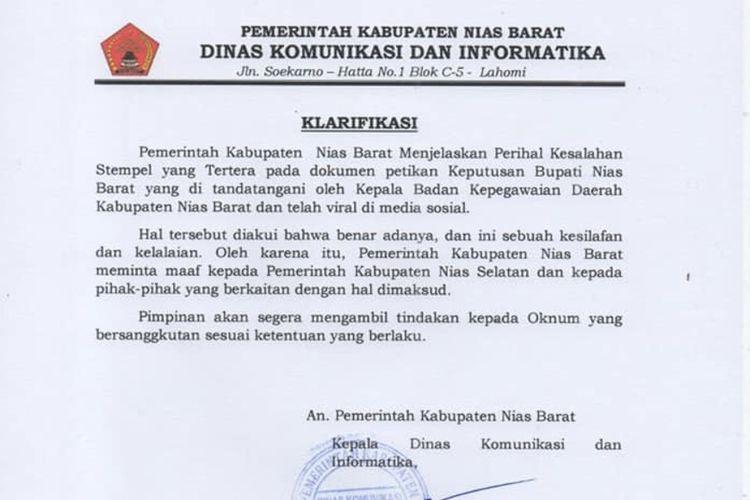 Surat Klarifikasi Pemerintah Kabupaten Nias Barat atas adanya stempel BKD Nias Selatan dalam SK Bupati Nias Barat bernomor 820-2 tertanggal 2 Januari 2020 tentang pemberhentian dan pelantikan 94 ASN dalam jabatan baru.