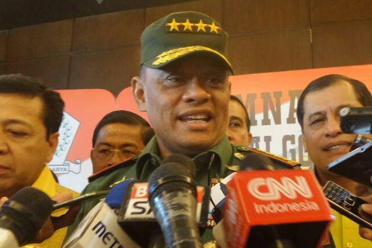 Panglima TNI Jenderal TNI Gatot Nurmantyo seusai memberikan paparan pada Rapat Pimpinan Nasional (Rapimnas) Partai Golkar di Balikpapan, Senin (22/5/2017).