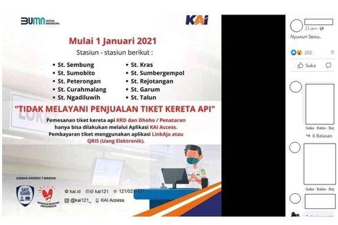 10 Stasiun Tutup Loket Penjualan Tiket KA Mulai 1 Januari 2021, Benarkah?
