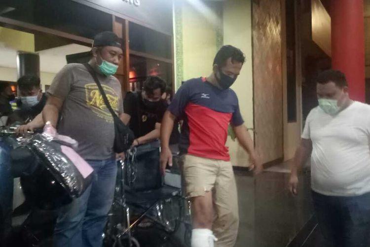 Suhartono (38) salah satu pelaku penculikan anak berusia 4 tahun saat berada di Polrestabes Palembang, Sabtu (21/2/2021).
