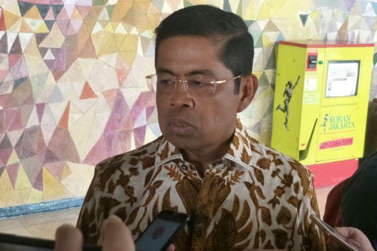 Ketua Bidang Kelembagaan DPP Partai Golkar Idrus Marham saat ditemui di Kompleks Parlemen, Senayan, Jakarta, Jumat (13/7/2018).