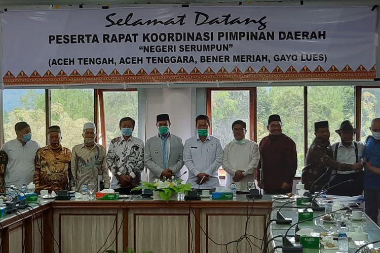 Pertemuan 4 Kabupaten di Wilayah Tengah Tenggara Aceh, Jumat (18/9/2020).