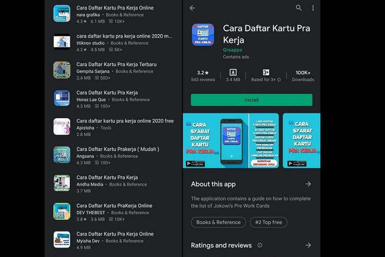 Aplikasi Prakerja palsu beredar di Google Play Store.