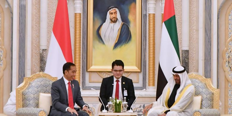 President Joko Widodo (left) holds a bilateral meeting with Sheikh Mohammed bin Zayed Al Nahyan (right), crown prince of Abu Dhabi and deputy supreme commander of the UAE Armed Forces in Qasr Al Watan in Abu Dhabi on January 12, 2020.