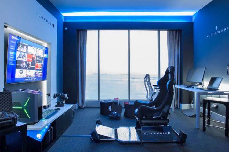 Kamar hotel Hilton Panama yang dikhususkan bagi para gamer dengan fasilitas gaming yang canggih.