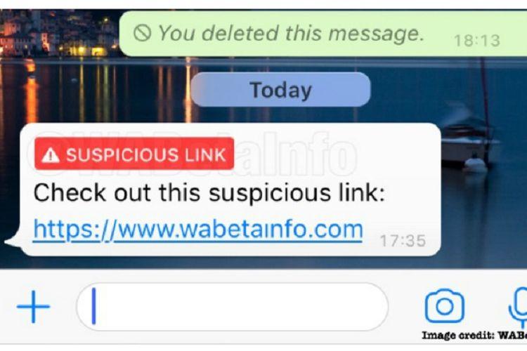 Fitur baru WhatsApp pada iPhone yang dapat mengidentifikasi tautan berbahaya.