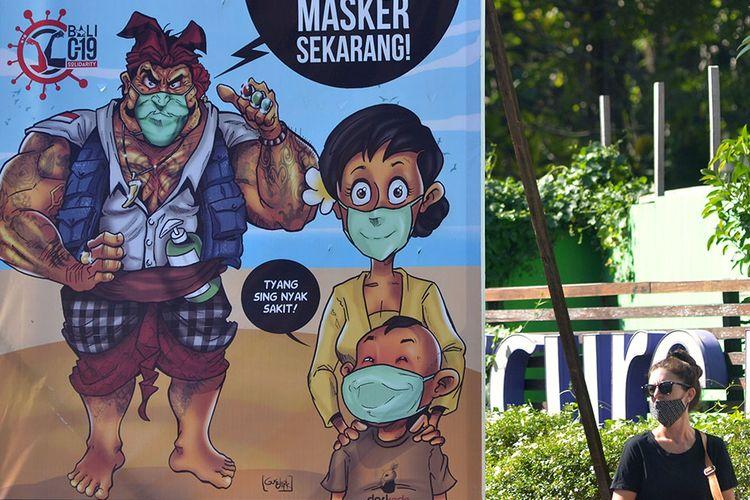 Foto dirilis Minggu (20/9/2020), memperlihatkan wisatawan wancanegara berjalan di dekat baliho sosialisasi penggunaan masker di kawasan Legian, Badung. Keseriusan penerapan berbagai protokol kesehatan di Bali ditargetkan dapat menekan angka penyebaran Covid-19 sehingga mampu membangun kepercayaan wisatawan untuk mengunjungi Pulau Dewata kembali.