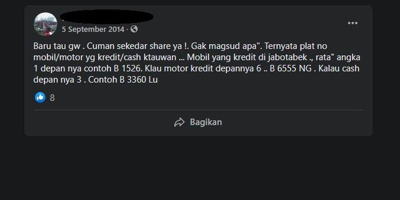 Tangkapan layar hoaks pelat nomor kendaraan dibedakan berdasarkan cara belinya, cash atau kredit.