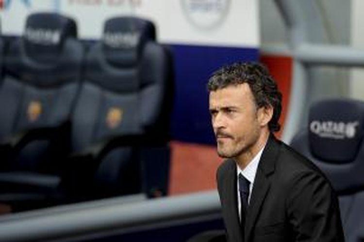 Pelatih baru Barcelona, Luis Enrique Martinez, ketika menghadiri acara perkenalan dirinya di Camp Nou, Rabu (21/5/2014).