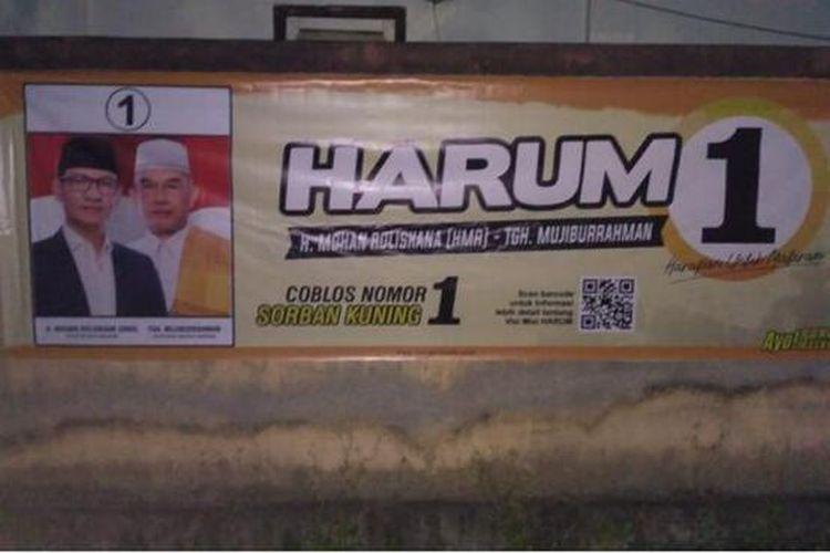 Spanduk pasangan calon wali kota dan wakil wali kota Mataram nomor urut 1satu menggunakan barcode di spanduk guna sosialisasi program.
