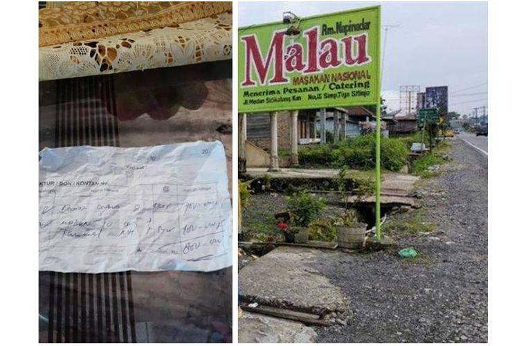 Kolase foto warung makan Malau dan struk tagihan pembayaran dua ekor ayam seharga Rp 800.000.