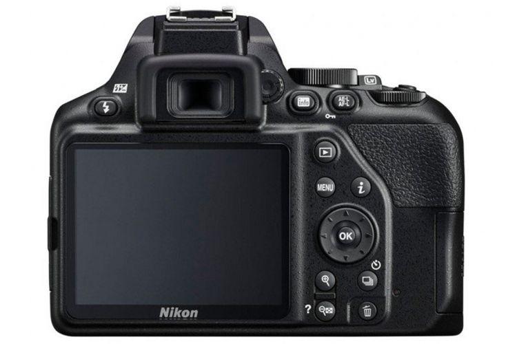 Tampak belakang Nikon D3500.