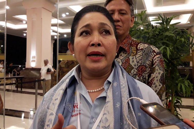Ketua Dewan Pertimbangan Partai Berkarya Siti Hediati Hariyadi atau Titiek Soeharto saat ditemui di sela-sela rapat konsolidasi juru kampanye nasional di Hotel Sultan, Jakarta, Jumat (15/3/2019) malam.