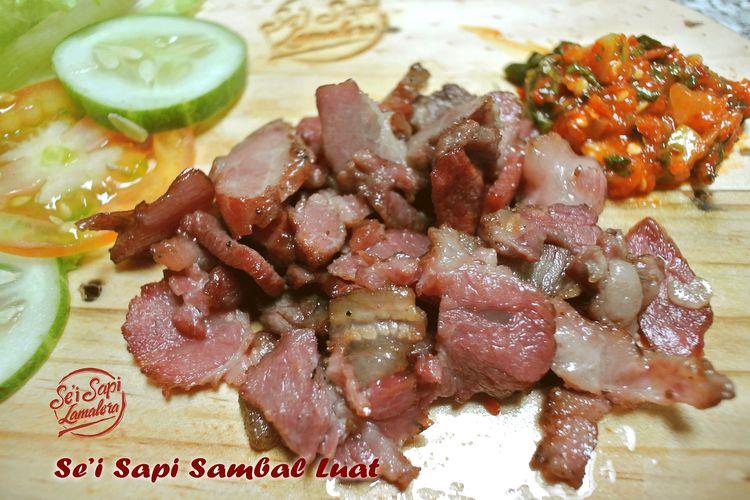 Ilustrasi sei sapi dan sambal luat dari Se'i Sapi Lamalera.