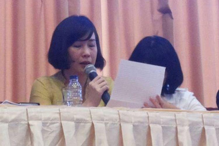 Veronica Tan saat membacakan surat Basuki Tjahaja Purnama untuk pendukungnya, Selasa (23/5/2017).