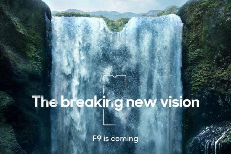 Teaser Oppo F9 menunjukkan bentuk notch yang unik.