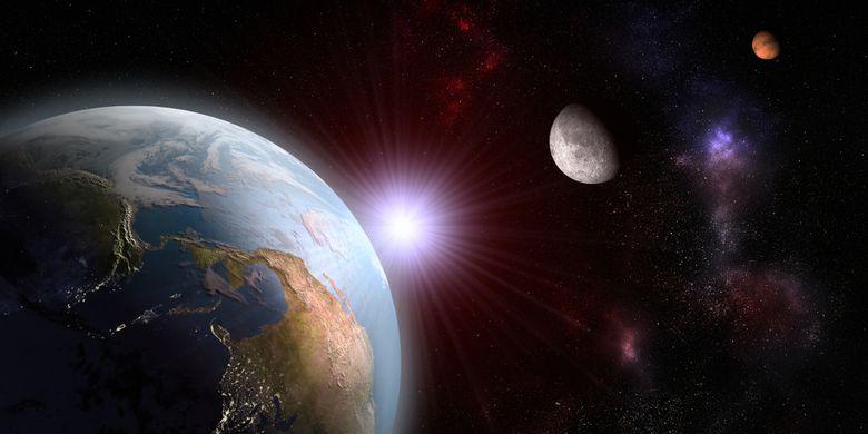 Ilustrasi Bumi, Bulan dan Mars berada pada posisi sejajar.