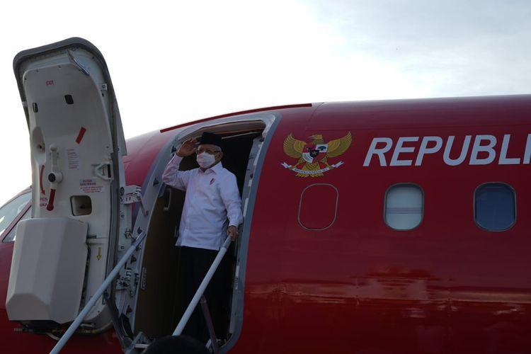 Wapres Ma'ruf Amin saat akan melakukan kunjungan kerja ke Sumatera Barat, Selasa (6/4/2021).