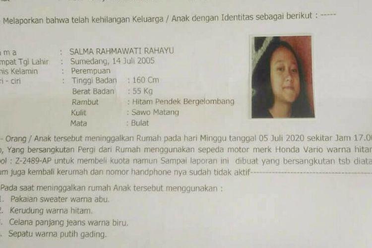 Salma Rahmawati Rahayu, remaja putri asal Jatinangor hilang sejak Minggu. Dok. Polres Sumedang/KOMPAS.com