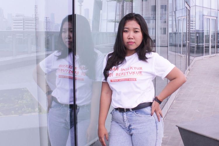Kiky Saputri berperan sebagai  Nety dalam film Imperfect saat promo film di di Kantor Redaski Kompas.com, Menara Kompas, Jakarta,Rabu ( 4/12/2019).