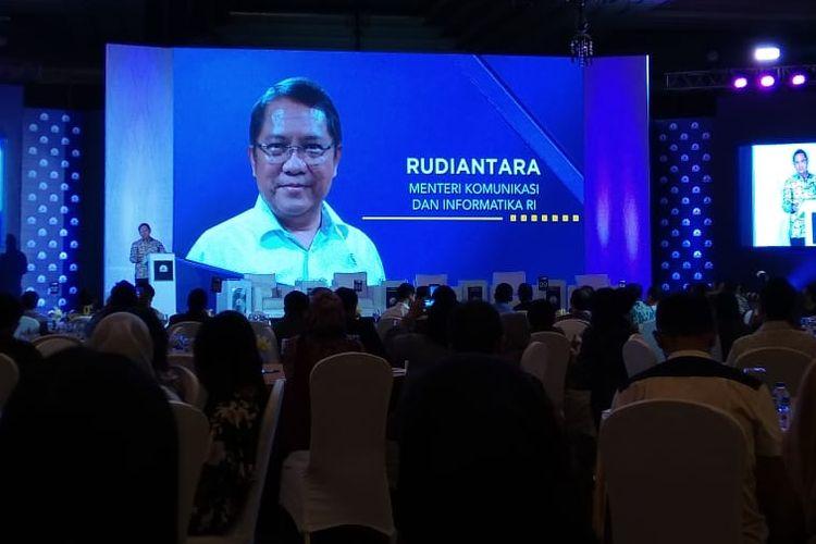 Menteri Komunikasi dan Informasi Rudiantara dalam seminar Banking dan Fintech di Jakarta, Kamis (9/5/2019)