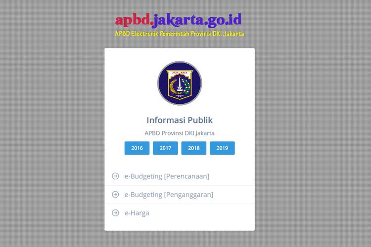 Laman dalam situs apbd.jakarta.go.id yang berisi anggaran belanja daerah dari tahun ke tahun.