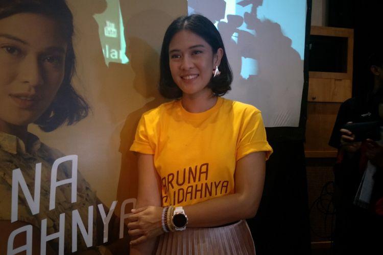 Dian Sastrowardoyo dalam konferensi pers film Aruna dan Lidahnya di Ecology, Kemang, Jakarta Selatan, Kamis (31/5/2018).