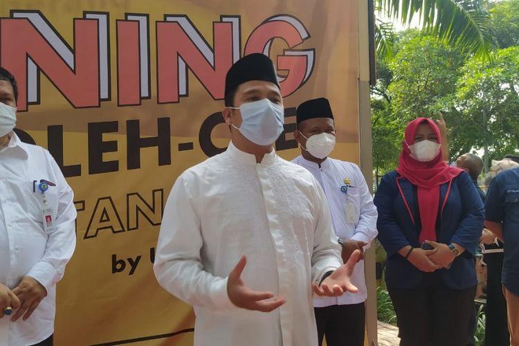 Wali Kota Tangerang Arief R Wismansyah saat ditemui di Rest Area KM 14, Jalan Tol Jakarta-Merak, Kota Tangerang, Jumat (9/4/2021).