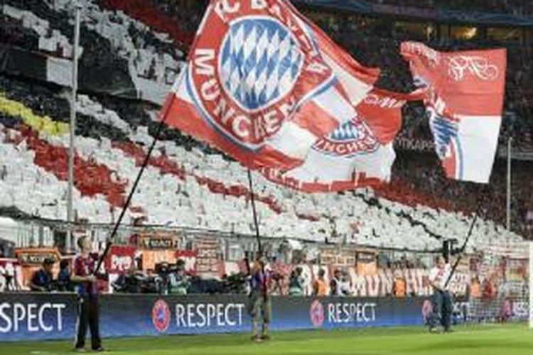 Para suporter Bayern Muenchen siap memboikot lima menit awal pertandingan Liga Champions antara tim kesayangannya kontra Arsenal di Stadion Emirates, 20 Oktober 2015.