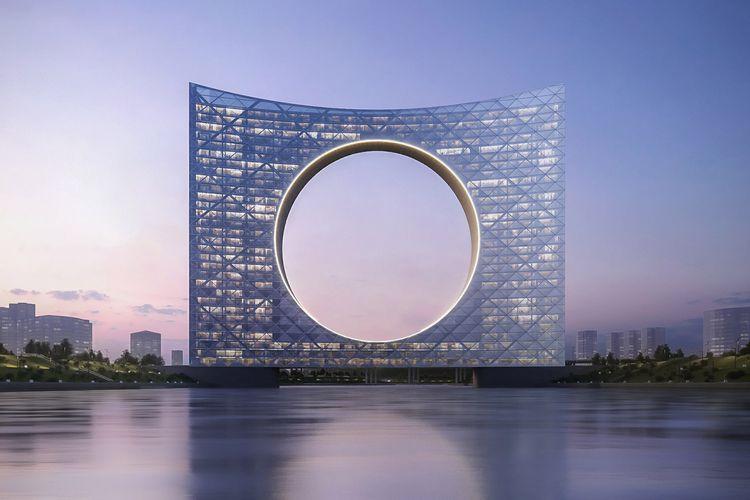 Bangunan serbaguna seluas 75.000 meter persegi ini didesain dengan ketinggian 121 meter yang mencakup perumahan, perkantoran, hotel, dan komersial.