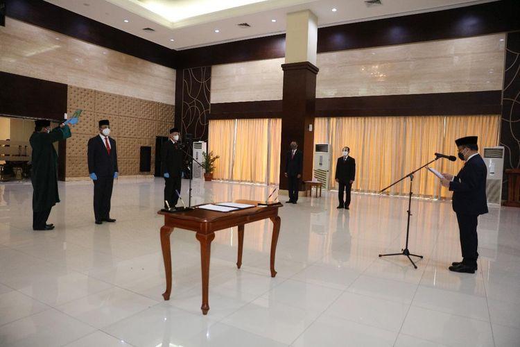 Foto Kementerian Sekretariat Negara: Pelantikan Sekretaris Militer Presiden dan Kepala Biro Umum Sekretariat Militer Presiden oleh Mensesneg Pratikno, Rabu (11/11/2020).