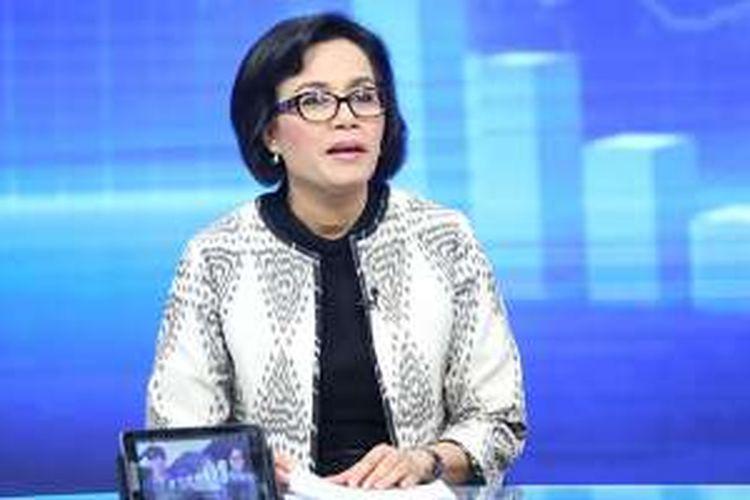 Menteri Keuangan Sri Mulyani berpartisipasi dalam program 'Rosi' di KompasTV, Jakarta, Sabtu (24/9/2016).