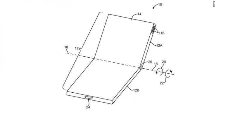 Ilustrasi perangkat dengan layar lipat dalam dokumen paten yang diajukan Apple ke USPTO.