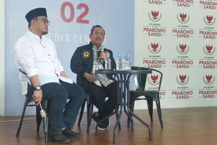Wakil Ketua Badan Pemenangan Nasional (BPN) Priyo Budi Santoso dalam sebuah diskusi di media center pasangan Prabowo-Sandiaga, Jalan Sriwijaya, Jakarta Selatan, Senin (18/3/2019).