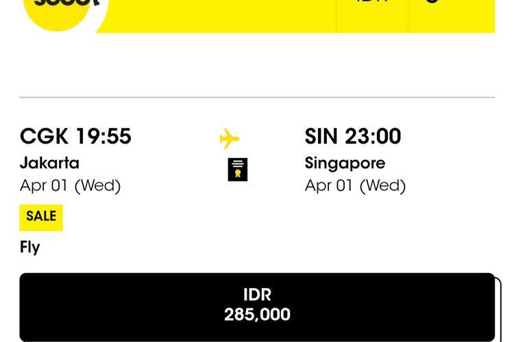 Tangkapan layar Scoot untik tiket dari Jakarta ke Singapura.