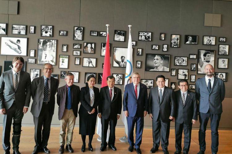 Rombongan Indonesia bertemu dengan pihak IOC di Laussane, Swiss, Rabu (15/5/2019).