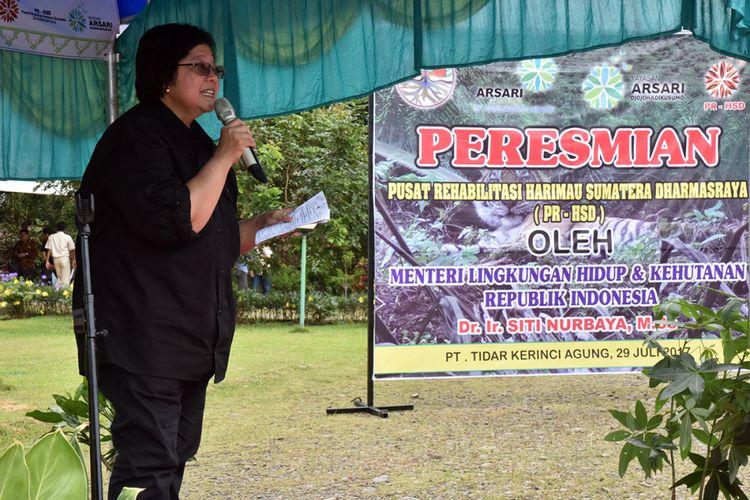 Memperingati Hari Harimau Global yang jatuh pada tanggal 29 Juli setiap tahunnya, Menteri Lingkungan Hidup dan Kehutanan (LHK), Siti Nurbaya meresmikan Pusat Rehabilitasi Harimau Sumatera di Dharmasraya (PRHSD) Sabtu 29 Juli 2017. PRHSD ini berlokasi di PT. Tidar Kerinci Agung (PT. TKA) di Dharmasraya, Sumatera Barat dengan total area rehabilitasi seluas 10 hektar.