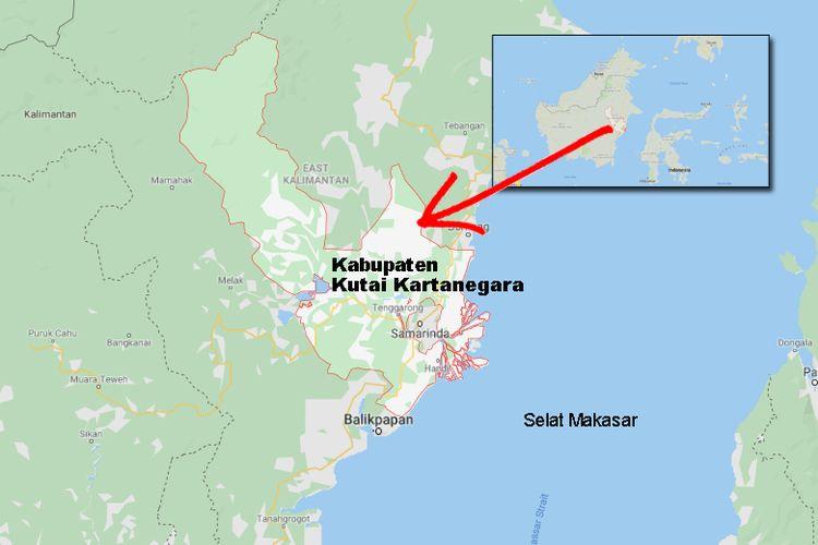 Wilayah Kabupaten Kutai Kartanegara di Kalimantan Timur.