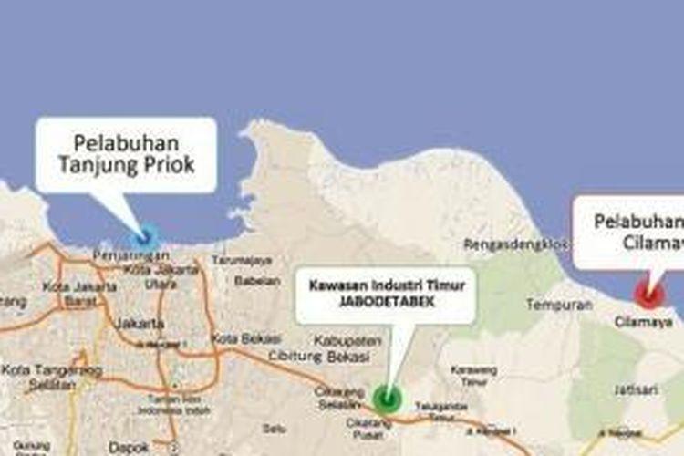 Rencana lokasi pelabuhan Cilamaya sebagai penyokong kegiatan industri.