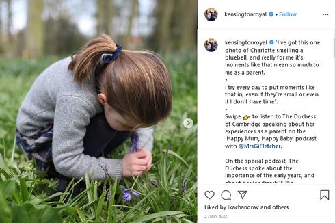Saat Kate Middleton Berbagi Foto Putri Charlotte Mencium Bunga...