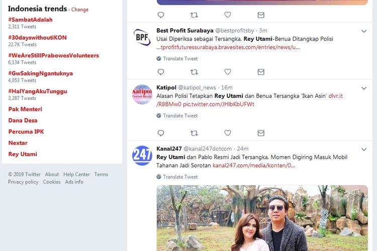 Rey Utami masuk 10 besar trending topic Twitter hari ini, Kamis (11/7/2019).