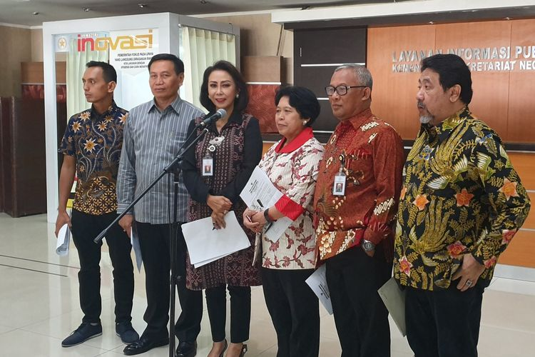 Panitia Seleksi Calon Pimpinan Komisi Pemberantasan Korupsi (KPK) di Istana Kepresidenan, Jakarta, Kamis (11/7/2019).