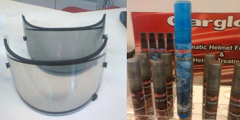 Visor anti-fog dan cairan khusus untuk bagian luar visor agar air tidak menempel.