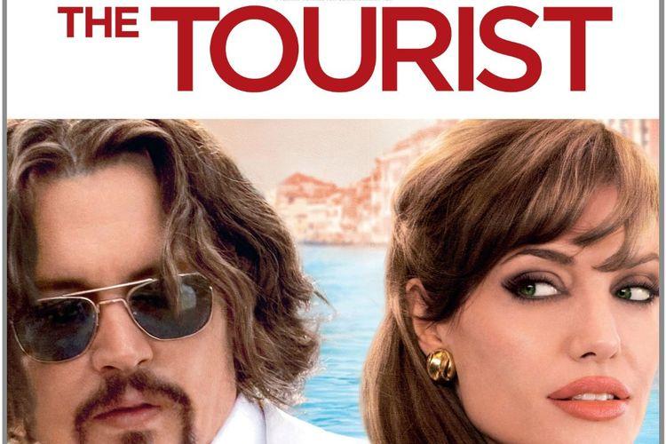 Johnny Depp dan Angelina Jolie dalam poster The Tourist